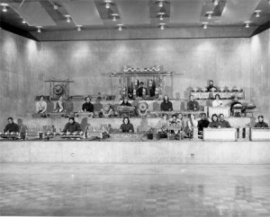 Wesleyan University Javanese Gamelan in the Center for the Arts' World Music Hall, 1975-1976. Image courtesy of the Wesleyan University Library, Special Collections & Archives, University Photographers Collection.